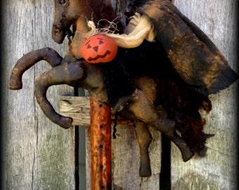 SALE-Primitive Folk Art *Headless Horseman of Sleepy Hollow* Make-Do-Antique Bobbin, OOAK Halloween, Autumn, Whimsical, Hafair Team, Faap