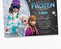 Girls Frozen Birthday Invitation, Frozen Birthday Party, Frozen Invitation, Frozen Birthday Invitation, Disney Invitation, chalkboard, cards