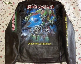 Iron Maiden or other band hand painted leather jacket
