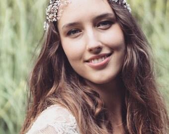 Bridal headpiece, rose gold bridal hair vine, Swarovski crystal wedding headdress, bride crown, boho bridal headpiece, freshwater pearl,