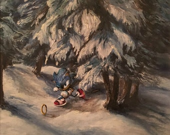 Sonic the Hedgehog Parody Painting, 'Faster' - Repurposed Thrift Art - Limited Edition Print or Poster - Sonic the Hedgehog Sega Genesis Art