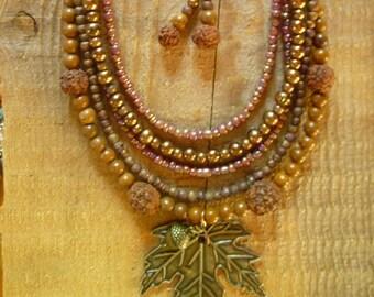 multi strand bib necklace and earring set..jasper autumn