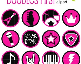 Rocker Chick Collage Sheets for Scrapbooking Card Making Cupcake Toppers Paper Crafts Digital Collage Sheet