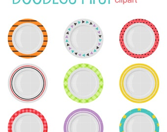 Cute Plates Clip Art for Scrapbooking Card Making Cupcake Toppers Paper Crafts