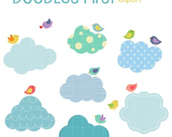 Birds And Clouds Clip Art for Scrapbooking Card Making Cupcake Toppers Paper Crafts