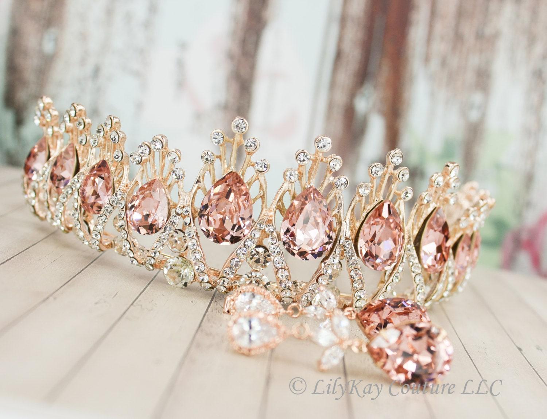 Rose Gold Tiara Crystal Bridal Tiara Wedding Tiara Blush