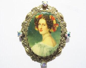 Vintage Germany Victorian Lady Portrait Brooch