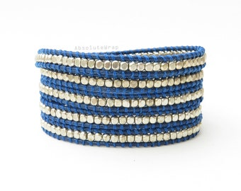 Silver plated beads wrap bracelet on royal blue polyester cord