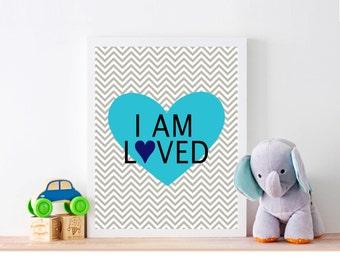 I Am Loved Light Blue Heart Nursery Art Print Nursery Wall Decor Nursery Wall Art Nursery Poster Nursery Sign Printable Digital Download