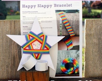 Happy Slappy Slap Bracelet Kit - Knitting Kit - Rainbow Slap Bracelet Toy - Makes 2