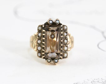 Victorian Rose of Sharon Ring, Antique 10k Smoky Quartz Intaglio Rose Cut Diamond & Pearls, Confederate Civil War Sweetheart Love Token Ring