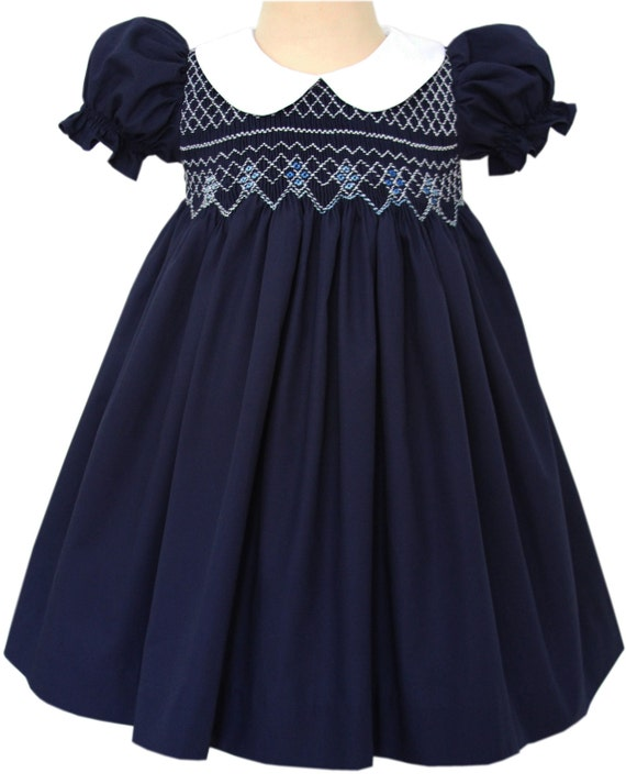 Beautiful Bliss Navy Classic Smocked Girls Dress Baby
