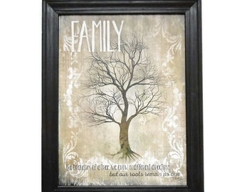 Family, Family Tree, Marla Rae, Art Print, Country, Primitive Home Decor, Wall Hanging, Handmade, 28X22, Custom Wood Frame, Made in the USA