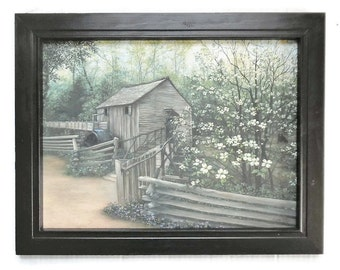Cable Mill in Spring, Primitive Picture, Country Home decor, Art Print, Wall Hanging, Handmade, 19X15, Custom Wood Frame, Made in the USA