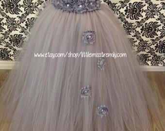 Silver Tutu Dress with Silver Flowers Cascading, Silver Tutu Dress, Flower Girl Dress, Flower Girl Tutu Dress, Pageant Dress, Couture Tutu