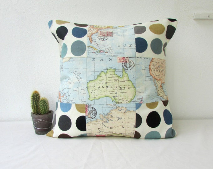 Patchwork cushion cover, map print, handmade in the UK