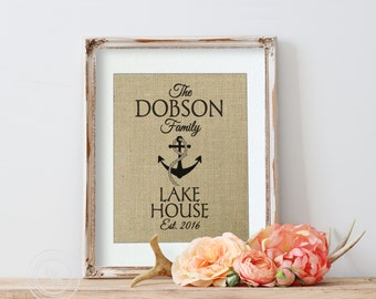 Personalized Lake House, Lake House Decor, Burlap Art Sign, Mountain House, Cottage Decor, Anchor Decor, Nautical Decor, Second Home