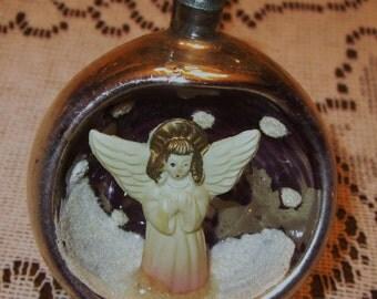 Vintage Angel Mercury Glass CHRISTMAS ORNAMENT Diorama Indent Snow Scene - Japan