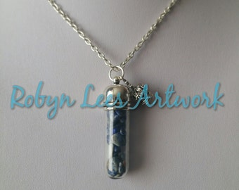 Lapis Lazuli Crystal Glass Vial Bottle Jar Necklace on Silver Crossed Chain with Small 3D Crown. Stone of Royalty