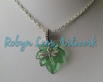 Nature Inspired Green Acrylic Leaf Charm with Small Silver Dragonfly Necklace and Silver Bail on Silver Crossed Chain or Brown Braided Cord