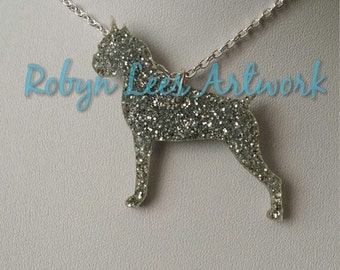 Glittered Silver Boxer Dog Laser Cut Necklace on Silver Crossed Chain