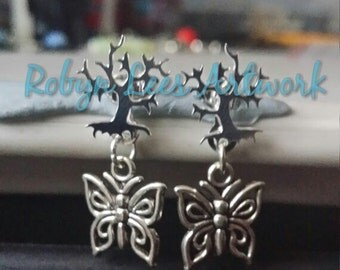 Silver Yggdrasil Tree of Life Nature Stud Earrings with Removable Butterfly Charms