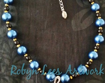 Silver Music Skull Necklace with Large Blue Pearl Beads, Gold Faceted Rondelle Beads and Black Glass Beads