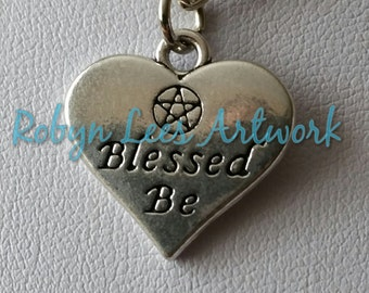 Double Sided Silver Blessed Be Wiccan Heart with Pentagram Pentacle on Silver Crossed Chain or Black Faux Suede Cord, Pagan, Witch, Nature