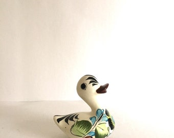 Vintage Tonala Pottery Duck Figurine - Made in Mexico