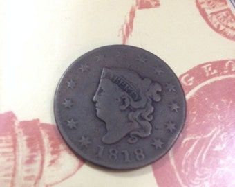 Antique 1818 Liberty Head (Matron Coronet Large) One Cent Coin