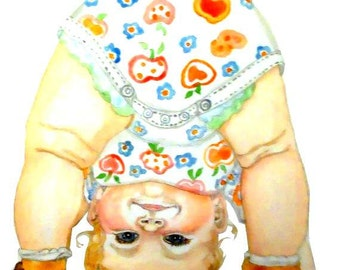 Funny Baby Art Print as ACEO, Print or Blank Greeeting Card from Original Watercolor