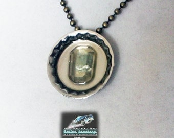 "Silvertone and aqua  ""bottlecap"" necklace made with ""It's a Mad, Mad, Mad, Mad World"" car glass."