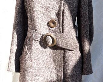 1930s Vintage Coat w Lynx?  Fur Collar, Great Sleeve Detail, Size S-M