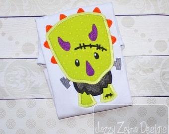 Dinosaur Frankenstein Appliqué Embroidery Design - dinosaur applique design - Frankenstein applique design - Halloween appliqué design