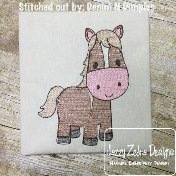 Horse Sketch Embroidery Design - farm Sketch Embroidery Design - pony Sketch Embroidery Design