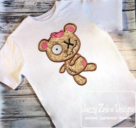Zombie Bear Appliqué Embroidery Design - bear appliqué design - zombie appliqué design - halloween appliqué design