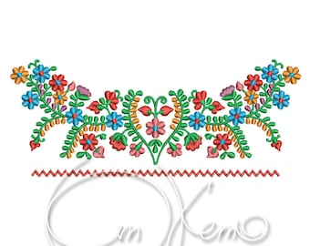 MACHINE EMBROIDERY DESIGN - Mexican dress design, Mexican collar, Mexican neck design, Tradicional mexican dress design