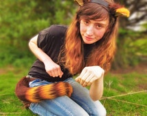 Luxury Long Honey and Brown Cat Ears and Tail Set! Clips Striped Stripe Bright Big Long Fursuit Cosplay Tiger Custom Kitty Neko Cheshire