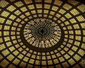 Abstract Photography, Tiffany Glass Ceiling, Chicago Print, Chicago Wall Art, Dome Ceiling, Circles, Brown, Gold, Warm Colors, Home Decor