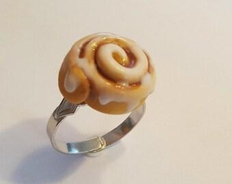 Cinnamon Roll Adjustable RIng, Polymer Clay Food Jewelry, Cinnamon Bun