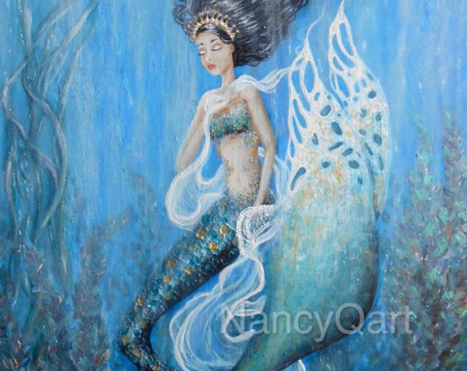 Mermaid fairy art, princess wall art, fairy tail little mermaid, Original art painting by Nancy Quiaoit