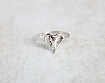Elephant Sterling Silver Ring.  Stacking rings.  Everyday wear ring.