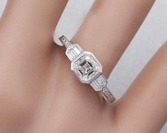14K White Gold Asscher Cut Simulated Diamond Engagement Ring Bezel Set 1.40ct