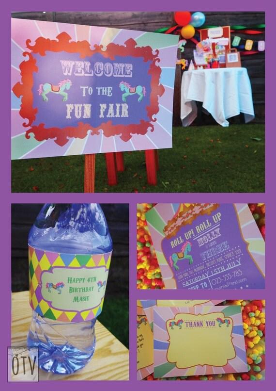 CARNIVAL- Fair Ground - Carousel - Personalised - Birthday - Shower - Pastel - Standard Package - PRINTABLE - Pdf - Digital