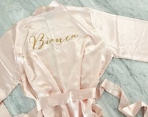 bridesmaid robes, personalized gold glitter matching robes, bridesmaid gift, blush and gold glitter bridemaids robes, mothers day gift