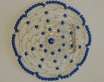Beaded Kippah in Blue Pearl with Silver Wire