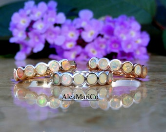 Opal Band, Opal Wedding Band, Ethiopian Opal Ring, 14kt, IN STOCK, VIDEOS