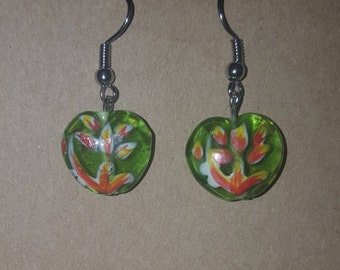 Green floral glass beaded earrings handmade