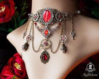 Steampunk Necklace, Red Necklace, Victirian Steampunk Choker, Cog choker