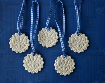 White ceramic ornaments, Christmas decorations, gift tags, housewarming gift, set of 5 or 10